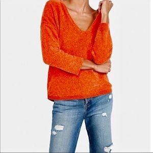 EXPRESS Orange Chenille Sweater Soft Size X-small